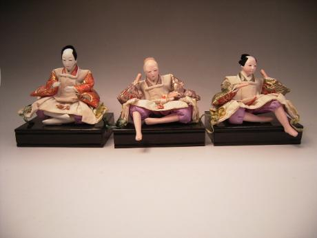 JAPANESE 20TH CENTUIRY SET OF 3 DOLLS<br><font color=red><b>SOLD</b></font>