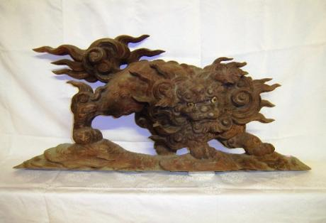JAPANESE EDO PERIOD CARVED WOODEN RANMA OF KOMAINU<br><font  color=red><b>STOLEN</b</font>
