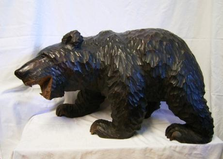 JAPANESE MID 20TH CENTURY LARGE HOKKAIDO CARVED WOODEN AINU BEAR<br><font color=red><b>SOLD</b></font>