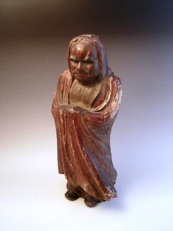 JAPANESE 19TH CENTURY CARVING OF DHARMA<br><font color=red><b>SOLD</b></font>