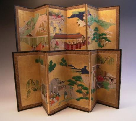JAPANESE EARLY 20TH CENTURY MINIATURE PAIR OF HANDPAINTED SCREENS<br><font color=red><b>SOLD</b></font>