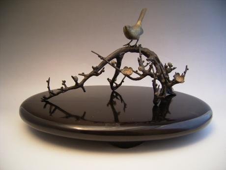 JAPANESE EARLY 20TH CENTURY BRONZE PLUM BRANCH AND NIGHTINGALE OKIMONO<br><font color=red><b>SOLD</b></font>