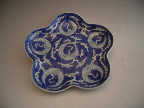 JAPANESE 19TH CENTURY BLUE AND WHITE IMARI PLUM BLOSSOM SHAPED PLATE<br><font color=red><b>SOLD</b></font>