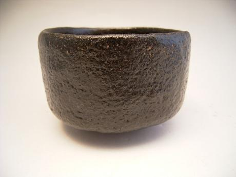 JAPANESE 20TH CENTURY BLACK RAKU TEA BOWL BY DOUNEN<br><font color=red><b>SOLD</b></font>