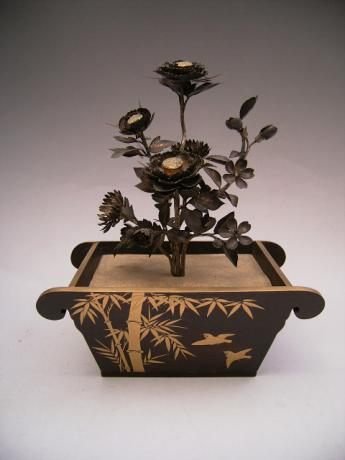 JAPANESE MEIJI PERIOD GILDED FLOWER ARRANGEMENT WITH LACQUER PLANTER