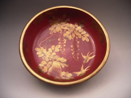 JAPANESE MEIJI PERIOD LARGE RED/BLACK/GOLD LACQUER BOWL<br><font color=red><b>SOLD</b></font>