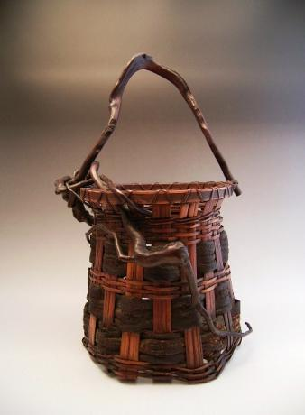 JAPANESE EARLY 20TH CENTURY BAMBOO AND WOOD BARK FLOWER BASKET<br><font color=red><b>SOLD</b></font>