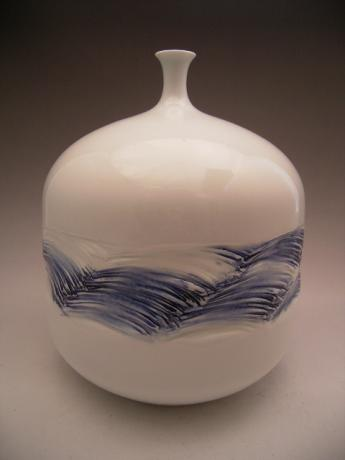 Japanese 20th Century Celadon Vase by Fujii Shumei<br><font color=red><b>SOLD</b></font>
