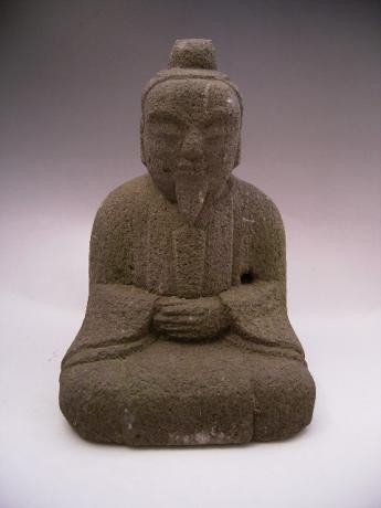JAPANESE CIRCA 1900 STONE STATUE OF TENJIN<br><font color=red><b>SOLD</b></font>