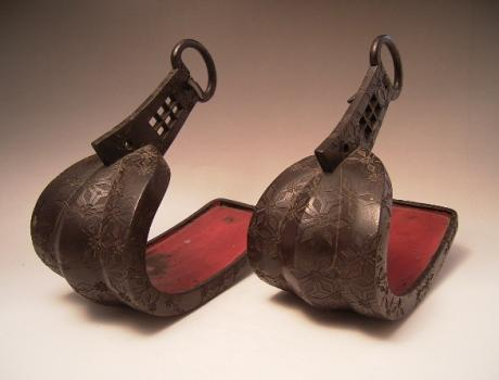 JAPANESE EDO PERIOD IRON ABUMI STIRRUPS<br><font color=red><b>SOLD</b></font>