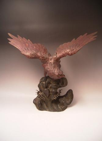 JAPANESE EARLY 20TH CENTURY BRONZE HAWK<br><font color=red><b>SOLD</b></font>