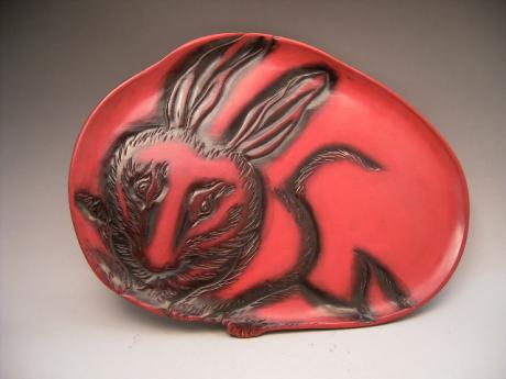 JAPANESE 20TH CENTURY RABBIT DESIGN RED LACQUER TRAY<br><font color=red><b>SOLD</b></font>