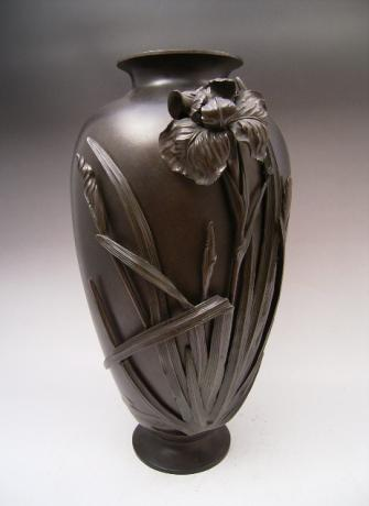 JAPANESE MEIJI PERIOD BRONZE IRIS VASE BY YOSHIKIYO<br><font color=red><b>SOLD</b></font>