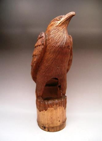 JAPANESE EARLY 20TH CENTURY BAMBOO CARVING OF EAGLE<br><font color=red><b>SOLD</b></font>