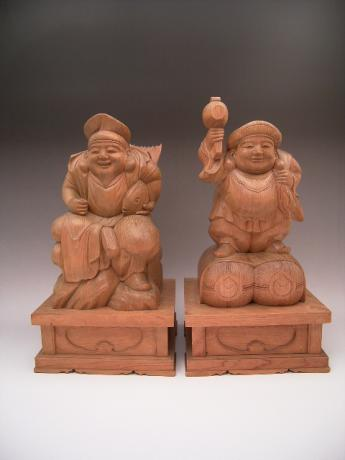 JAPANESE MID 20TH CENTURY WOODEN CARVINGS OF DAIKOKU AND EBISU<br><font color=red><b>SOLD</b></font>