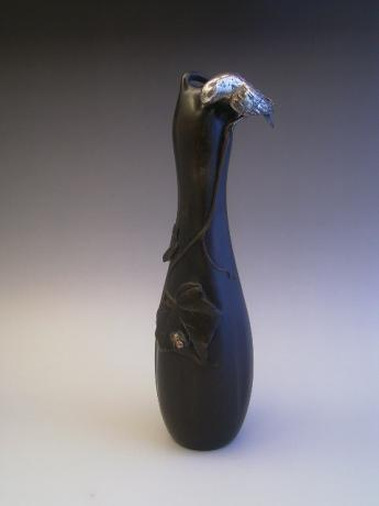 JAPANESE MEIJI PERIOD BRONZE VASE WITH SILVER CLAD BIRD<br><font color=red><b>SOLD</b></font>