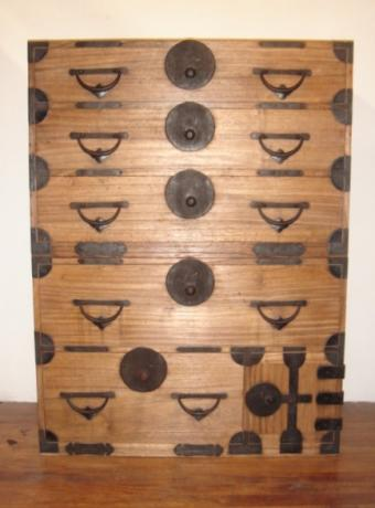 JAPANESE CIRCA 1900 2 PIECE KIRIWOOD TANSU CHEST<br><font color=red><b>SOLD</b></font>