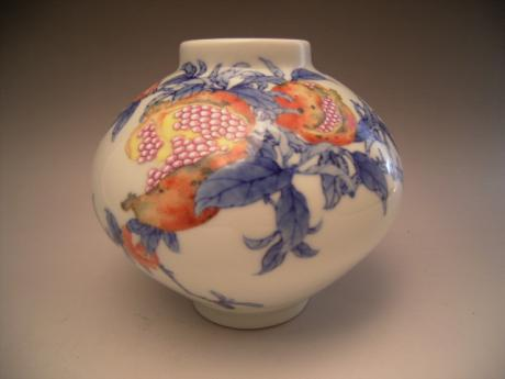 Japanese Early 20th Century Porcelain Pomegranate Design Vase By
