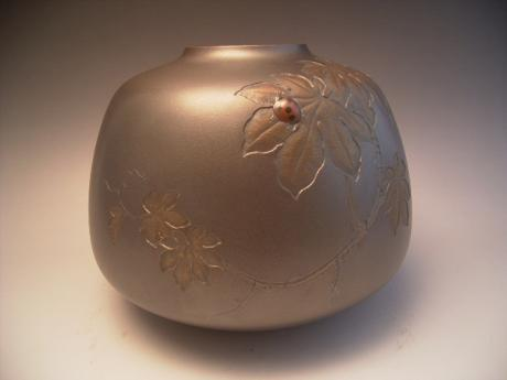 JAPANESE SHOWA PERIOD BRONZE VASE BY SHIMADA SOUGO<br><font color=red><b>SOLD</b></font>