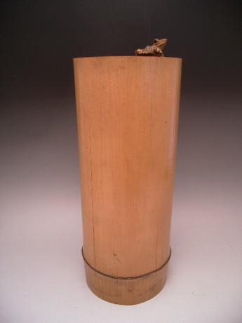 JAPANESE MID 20TH CENTURY NATURAL BAMBOO FLOWER CONTAINER WITH CARVED FROG<br><font color=red><b>SOLD</b></font>