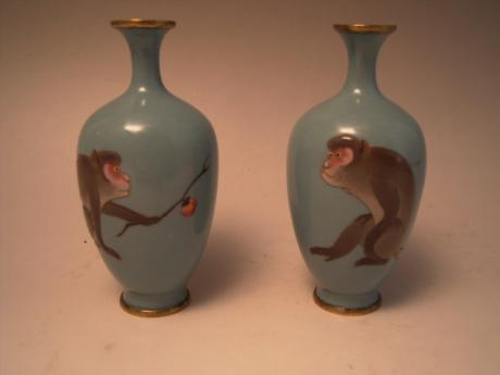 JAPANESE CIRCA 1900 PAIR OF MORIAGE CLOISONNE VASES<br><font color=red><b>SOLD</b></font>