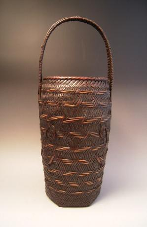 JAPANESE EARLY 20TH CENTURY BAMBOO FLOWER BASKET, SIGNED