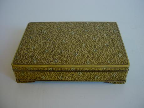 KOMAI IRON BOX WITH GOLD INLAID FLOWERS<br><font color=red><b>SOLD</b></font>