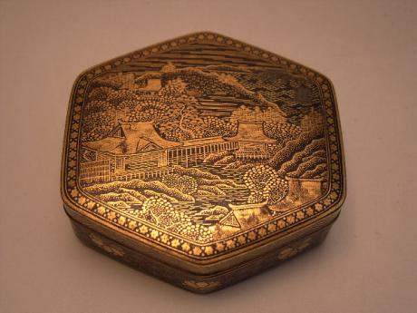 JAPANESE MEIJI PERIOD KOMAI IRON BOX WITH GOLD INLAID LANDSCAPE<br><font color=red><b>SOLD</b></font>