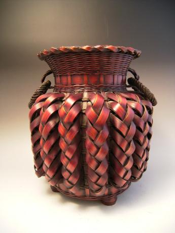 JAPANESE MID 20TH CENTURY BAMBOO FLOWER BASKET<br><font color=red><b>SOLD</b></font>