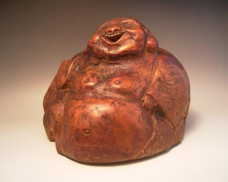 JAPANESE MIDE 20TH CENTURY WOODEN CARVING OF HOTEI<br><font color=red><b>SOLD</b></font>