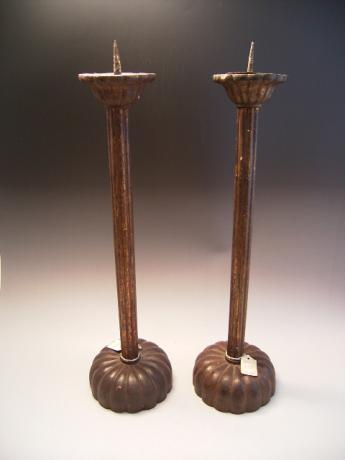 JAPANESE LATE 19TH CENTURY LACQUERED WOODEN PAIR OF CANDLESTICKS<br><font color=red><b>SOLD</b></font>