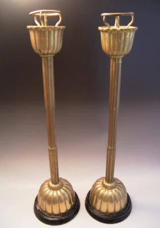 JAPANESE EARLY 20TH CENTURY BRASS CANDLESTICKS<br><font color=red><b>SOLD</b></font>