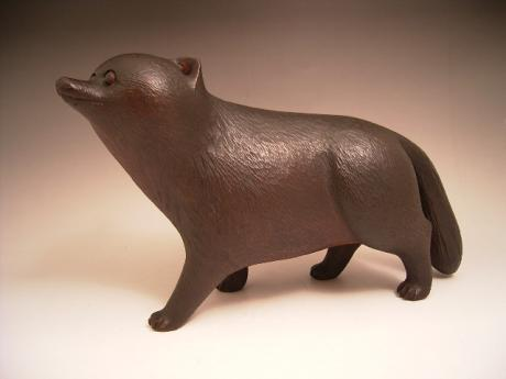 JAPANESE CIRCA 1900 WOODEN CARVING OF TANUKI<br><font color=red><b>SOLD</b></font>