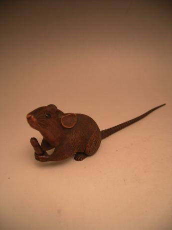JAPANESE MEIJI PERIOD WOODEN CARVING OF RAT<br><font color=red><b>SOLD</b></font>