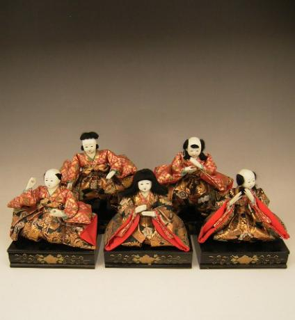 JAPANESE EARLY 20TH CENTURY SET OF 5 MUSICIAN DOLLS FOR GIRL'S DAY<br><font color=red><b>SOLD</b></font>