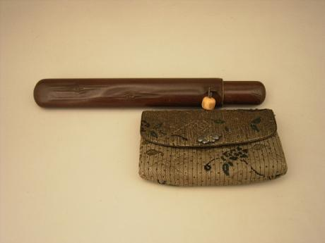 JAPANESE MEIJI PERIOD TOBACCO POUCH AND KISERUZUTSU PIPE CASE<br><font color=red><b>SOLD</b></font>