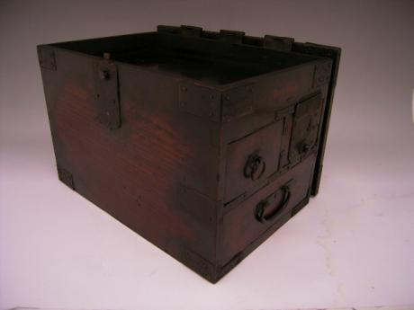 JAPANESE MEIJI PERIOD WOODEN CALLIGRAPHY BOX WITH HINGED TOP AND 3 DRAWERS<br><font color=red><b>SOLD</b></font>