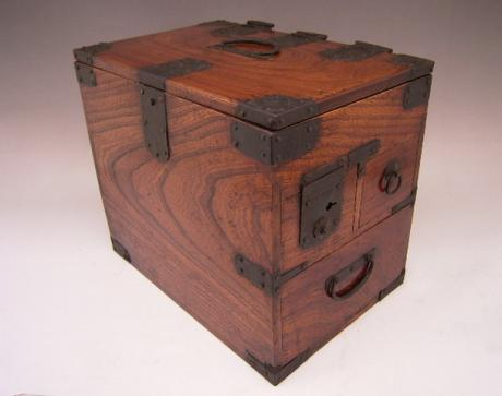 JAPANESE MEIJI PERIOD WOOD CALLIGRAPHY BOX WITH HINGED TOP AND 3 DRAWERS<br><font color=red><b>SOLD</b></font>