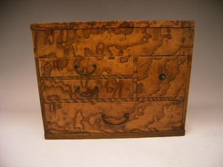 JAPANESE EARLY - MID 20TH CENTURY WOODEN SEWING BOX<br><font color=red><b>SOLD</b></font>