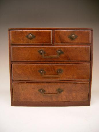 JAPANESE MID 20TH CENTURY SMALL PERSONAL WOODEN CHEST WITH 5 DRAWERS<br><font color=red><b>SOLD</b></font>