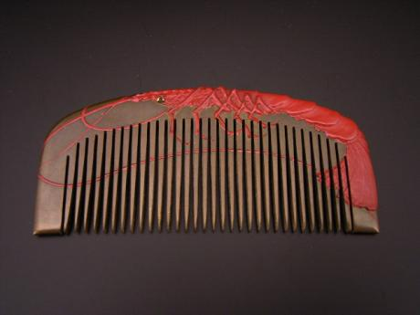 JAPANESE TAISHO - EARLY SHOWA RED LOBSTER DESIGN COMB<br><font color=red><b>SOLD</b></font>