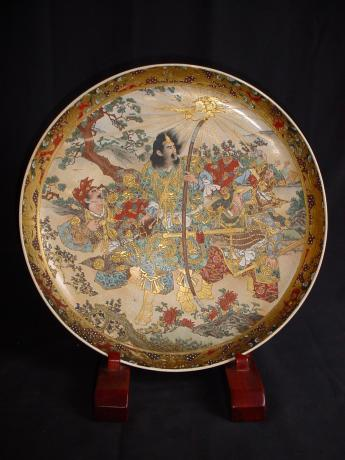 MEIJI PERIOD LARGE SATSUMA CHARGER<br><font color=red><b>SOLD</b></font>