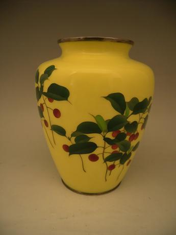 Japanese Early 20th C Ando Cloisonne Nanten Design Vasesold