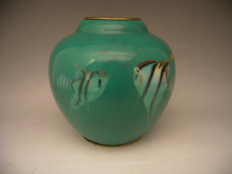 JAPANESE EARLY 20TH CENTURY INABA ANGELFISH DESIGN CLOISONNE VASE<br><font color=red><b>SOLD</b></font>