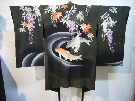 JAPANESE EARLY SHOWA PERIOD SUMMER KOI DESIGN HAORI<br><font color=red><b>SOLD</b></font>