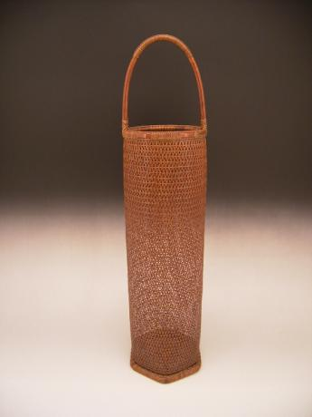 JAPANESE MID 20TH CENTURY BAMBOO FLOWER BASKET BY CHIKUUNSAI II<br><font color=red><b>SOLD</b></font>
