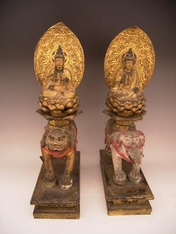 JAPANESE EDO PERIOD PAIR OF MONJU AND FUGEN BOSATSU<br><font color=red><b>SOLD</b></font>