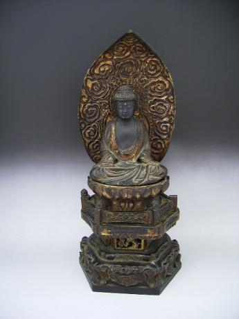 JAPANESE 19TH CENTURY CARVED WOOD AND LACQUERED SEATED AMIDA-BUTSU BUDDHA<br><font color=red><b>SOLD</b></font>