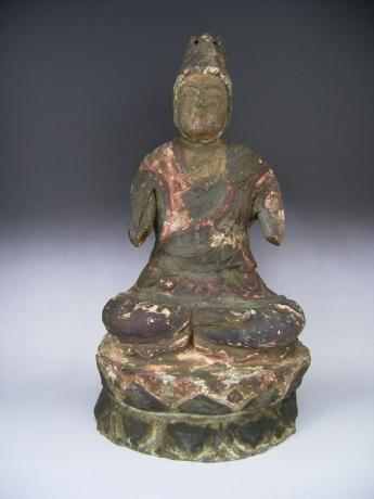 JAPANESE 19TH CENTURY CARVED AND PAINTED SEATED DAINICHI NYORAI COSMIC BUDDHA <br><font color=red><b>SOLD</b></font>