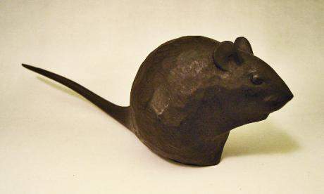 JAPANESE 20TH CENTURY CARVED AND PAINTED WOODEN RAT BY KATO TOMOHIKO